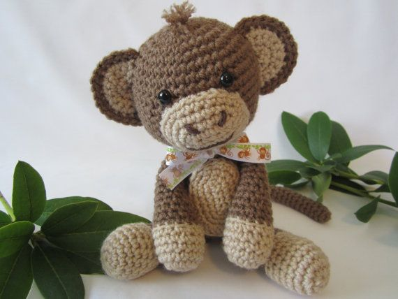 Crochet Patterns Jungle Animals : Crochet Monkey, Stuffed Monkey, Toy Monkey, Amigurumi ...