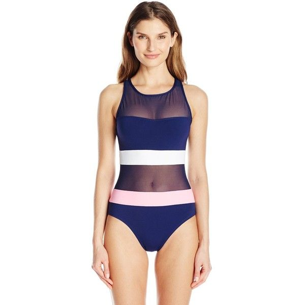 Anne Cole Women's Mesh High Neck One Piece Bathing Suit ($98) ❤ liked on Polyvore featuring swimwear, one-piece swimsuits, high neckline swimsuit, 1 piece swimsuit, mesh bathing suit, anne cole bathing suits and anne cole one piece swimsuit