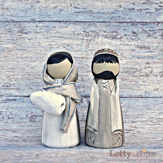 Mary Joseph and Jesus Christmas Nativity Peg Doll Decorations