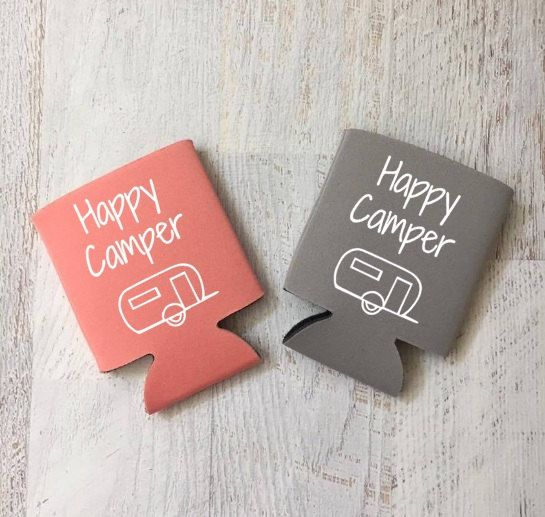 Happy Camper Camping Drink Holder Camping Gift Camper Gift Drink Holder Drink Hugger Drink Cooler, Beer Hugger, Birthday Party, Flamingo by AveryAnnBoutique on Etsy