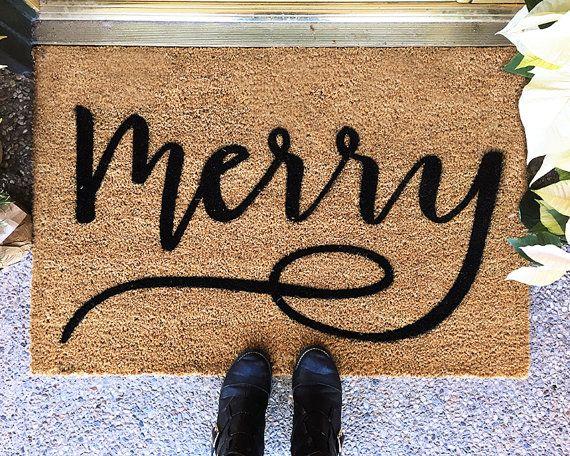 Holiday Doormat- Merry- Custom Hand Painted - Christmas Door Mat