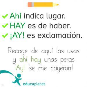 Ortografía Hay, ahí, ay Consejos para evitar las faltas de ortografía #actividades #ortografía #español