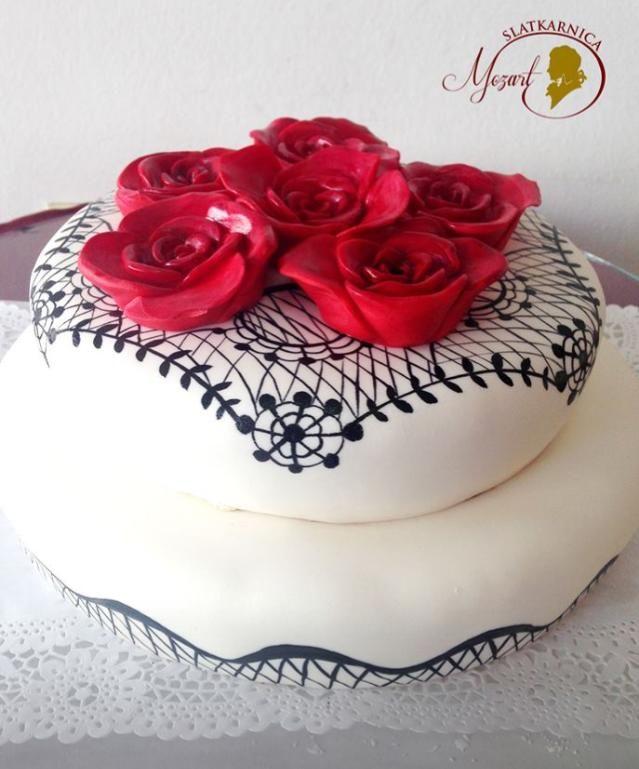 red rose wedding cake Wedding cakes Pinterest