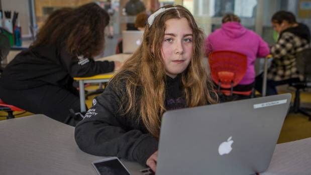 Author Kimberley Baker, 12, a student at Haeata Community School, says the new school's Modern Learning Environments are ...
