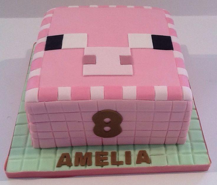 Minecraft pig birthday cake.