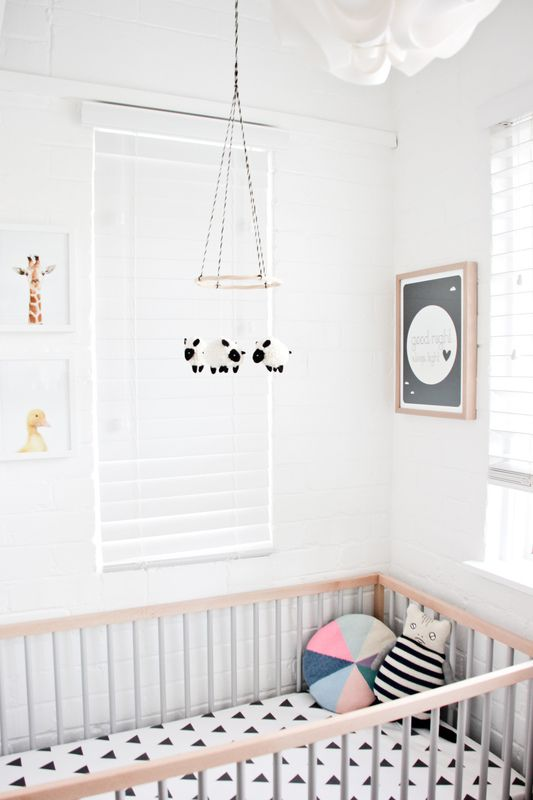 bright, neutral nursery; fun patterns and shapes