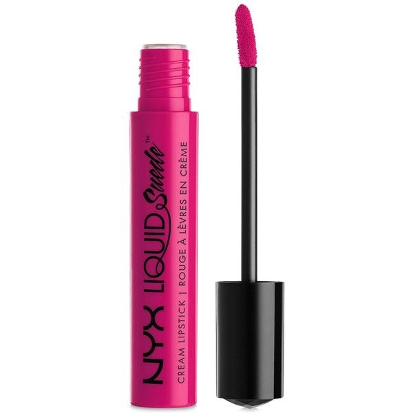 Nyx Liquid Suede Cream Lipstick ($7) ❤ liked on Polyvore featuring beauty products, makeup, lip makeup, lipstick, pink lust, glossy lipstick, lip gloss makeup, nyx lipstick and nyx