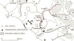 In rosso, il tratturo dai Sibillini all'Agro Falisco (da La cultura Villanoviana…