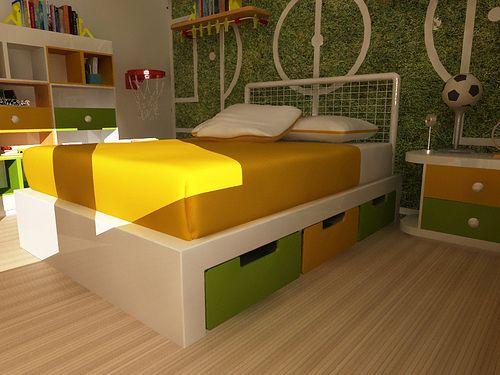 Mobiliario de niños. cama matrimonial para niño.