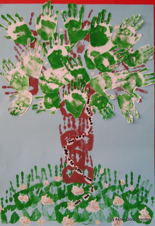 """""""Otthonom a fa"""" rajzpályázatra készített munkánk - tenyér- és ujjnyomatok"""