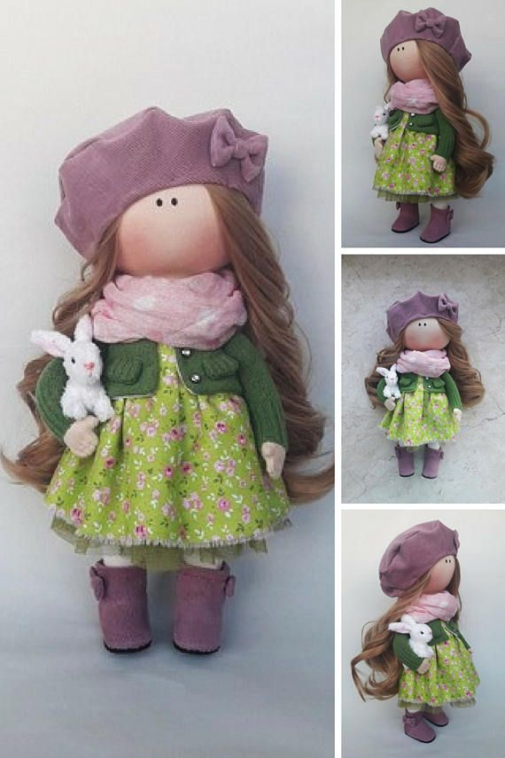 Tilda Doll Handmade Doll Fabric Doll Green Doll Nursery Doll