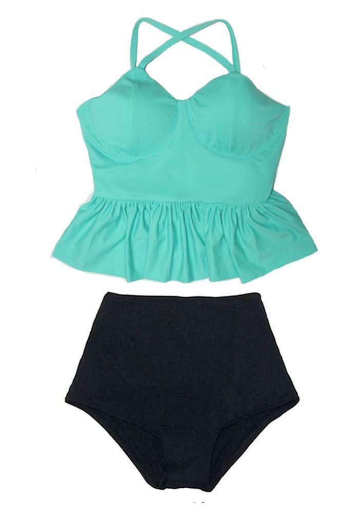 Mint Green Long Peplum Top and Black Vintage Retro High Waist Waisted Swimsuit Swimsuits Swimwears Bikini Swim Bathing Swim wear suit M L by venderstore on Etsy
