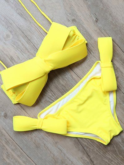 SHARE & Get it FREE | Bowknot Halter Bikini Set - YellowFor Fashion Lovers only:80,000+ Items • New Arrivals Daily Join Zaful: Get YOUR $50 NOW!