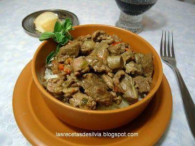 Cazuela  de carne con arroz a la crema