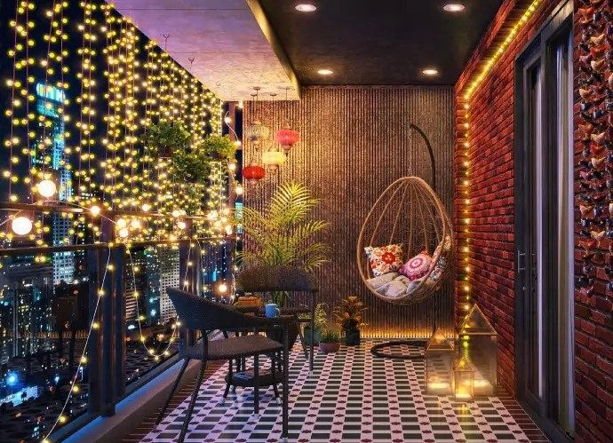 Amazing Apartment Balcony Lighting Design Ideas In 2020 Diwali Decoration Lights Diwali Lights Diwali Decorations At Home