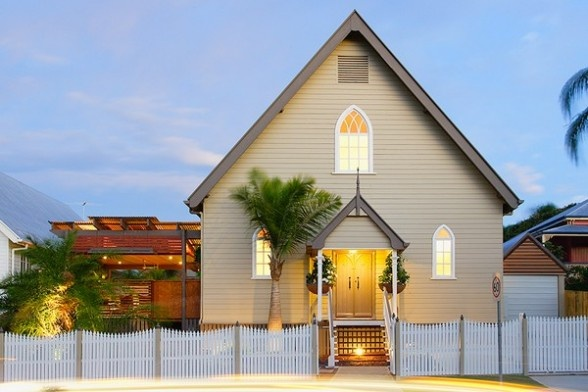 This historic church in Brisbane Australia was turned into a beautiful contemporary home. Check out the link to view amazing interior photos.