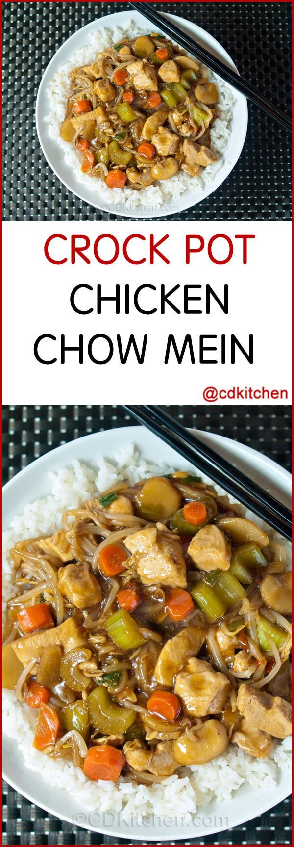 Slow Cooker Chicken Chow Mein With Water Chestnuts And Bean Sprouts - A tasty slow cooked chow mein made with chicken, carrots, green onion, celery, water chestnuts, and bean sprouts.| CDKitchen.com