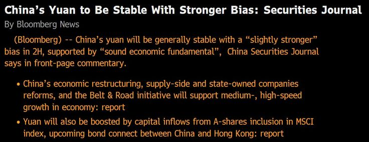 #CNH #CNY | #Chinas #Yuan to Be Stable With Stronger Bias - Bloomberg (citing China Securities Journal)#Sober Lookchinafinis#June 29 2017 at 02:23PM#via-IF