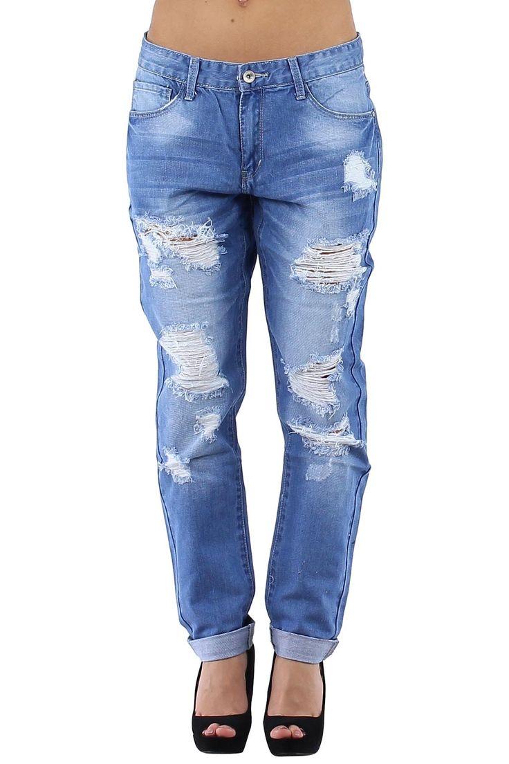 Pantalón vaquero de mujer ancho Jeans estilo Boyfriends con rotos actuales Condición:  Nuevo Composición 100% Algodón Categoría Pantalones Jeans Paquetes 10 unidades Los paquetes de color Tamaño : 34 (XS), 36 (S), 38 (M), 40 (L), 42 (XL) De color Azul jeans  mayoristas de ropa vaqueros al por mayor: http://intueriecommerce.com/es/