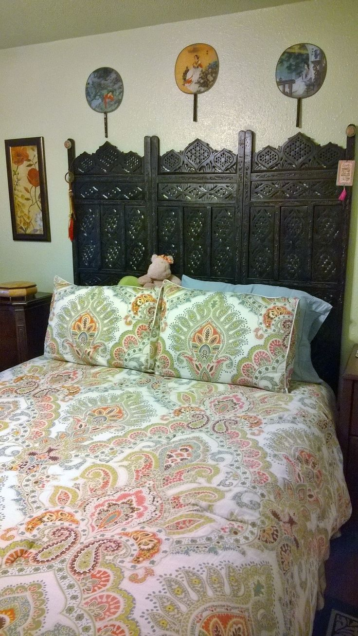 Asian Indian Room Divider Turned Into Headboard