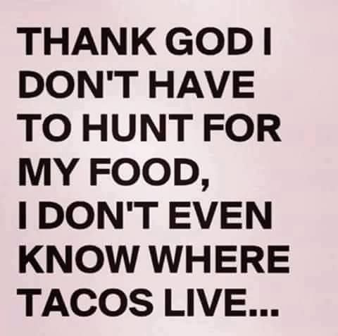 Thank God I don't have to hunt for my food, I don't even know where tacos live....