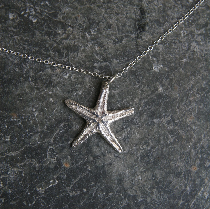 Sterling silver starfish pendant.  Lots of surface detail.  Cast from a real Cornish starfish.  Sterling silver chain and findings.