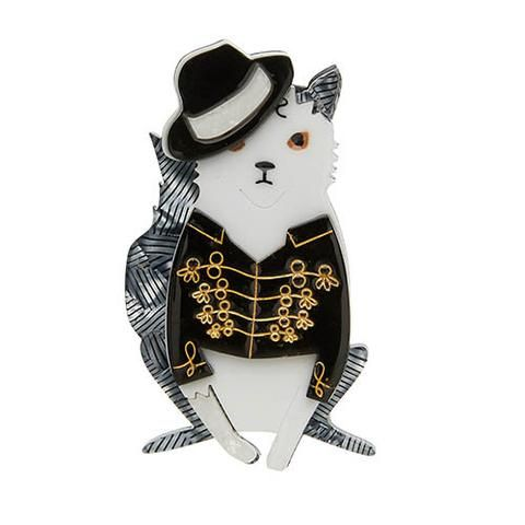 "Erstwilder Limited Edition Rock With You Brooch. ""Us cool cats are a complicated bunch. Sometimes we like to rock others we like to groove. Lay back and groove with mine."""