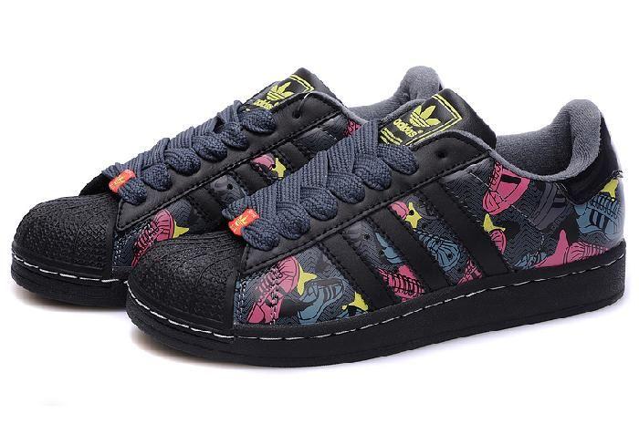 Buy Hot Adidas Originals Superstar 2 Black Red Lady Shoes Print ...