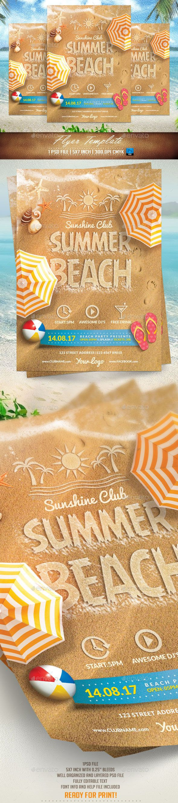 Summer Beach Flyer Template #design Download: http://graphicriver.net/item/summer-beach-flyer-template/11400273?ref=ksioks