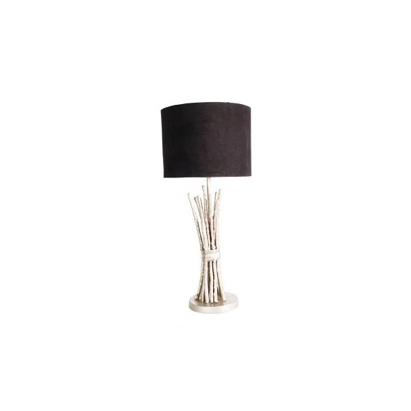 Bamboo Lamp With Velvet Shade Large