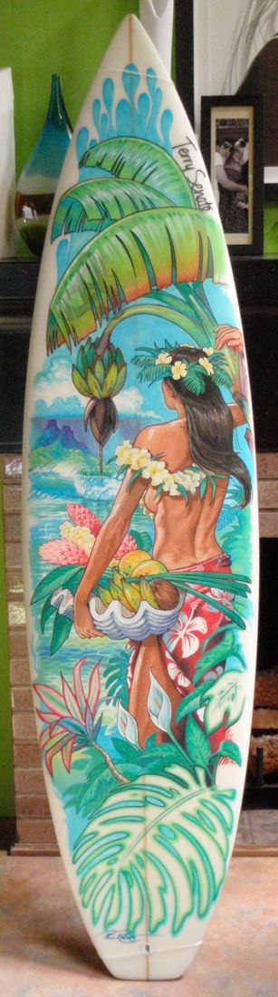 "Surf Art Board 5'10  ""Tahitian Bounty"" Painting $1200 SOLD"