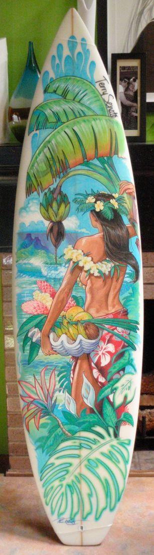 "Surf Art Board 5'10 ""Tahitian Bounty"" Painting $1200 SOLD"