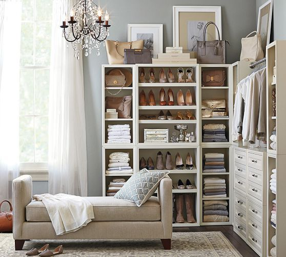 Build Your Own - Sutton Modular Closet Collection   Pottery Barn - exactly! now how to build it for less..