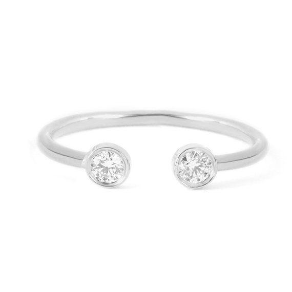 dual diamond ring gold horseshoe ring dual by sillyshinydiamonds - Horseshoe Wedding Rings