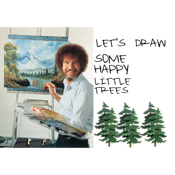 """happy little trees"" by kaylenbailey on Polyvore: Bobs Ross, Bob Ross"
