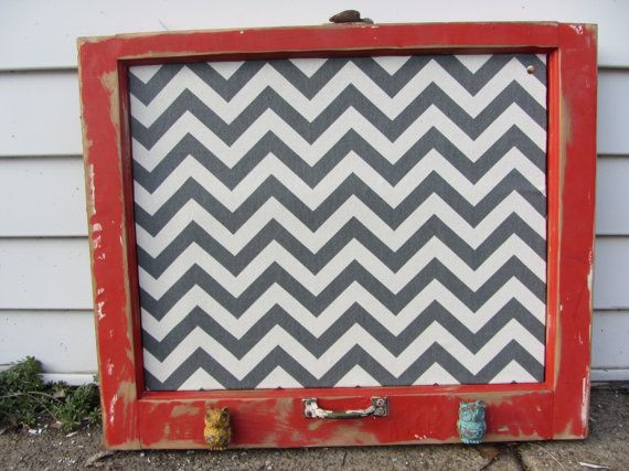 Grey Chevron Cork board with a Yellow & Turquoise metal Owl knobs made from a Reclaimed Old window. Red Shabby distressed Frame.  Eightysix56.etsy.com