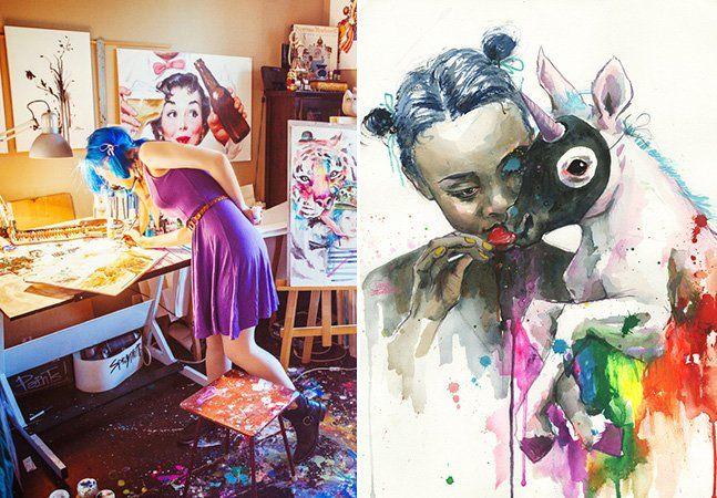 Já aqui falamos de Lora Zombie, artista autodidata russa que tem a capacidade de unir a precisão do traço com a confusão de cores e manchas próprias da pintura em aquarela. Lora cria suas obras em papel, em murais ou mesmo estampas de camisas – hoje apresentamos Coffee and Milk. A sua mais recente criação ficou registrada em um vídeo em timelapse, onde a artista deixa o espectador entrar um pouco em seu processo criativo. Apesar de serem marcadas pela pintura em aquarela, Zombie chama às…