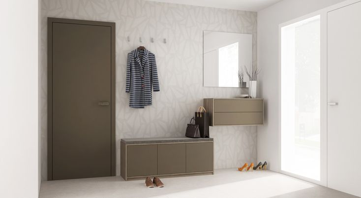Arrange hanging cabinets in an entryway to create storage for shoes and coats