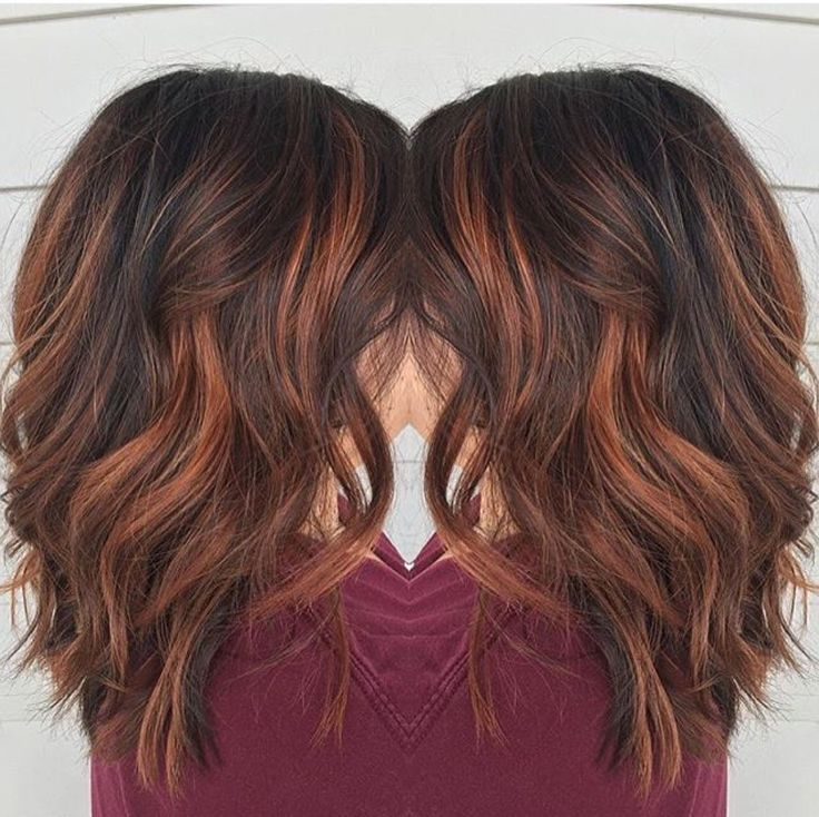 Trendy Hair Highlights Blunt Medium Wavy Hairstyles For Thick Red Brown Balayage