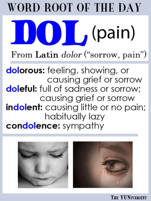 "The YUNiversity — Vocabulary Help: Word Root ""DOL"" (Pain)                                                                                                                                                                                 More"