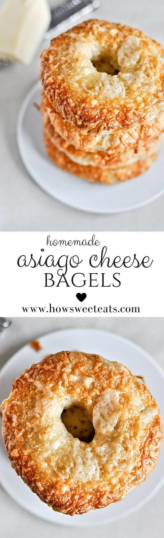 homemade asiago cheese bagels I howsweeteats.com