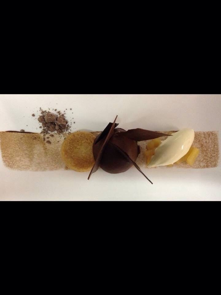 #chocolatetart #tart #ganache #shortbread #pears #drychocolate #maltosec #apapastavrou #chefpatissier #sudtirol #chefargiris Revised chocolate tart  shortbread biscuit,ganache chocolate,poached pear,maltosec dry chocolate Creation for Dolce vita hotels by chef Argiris papastavrou