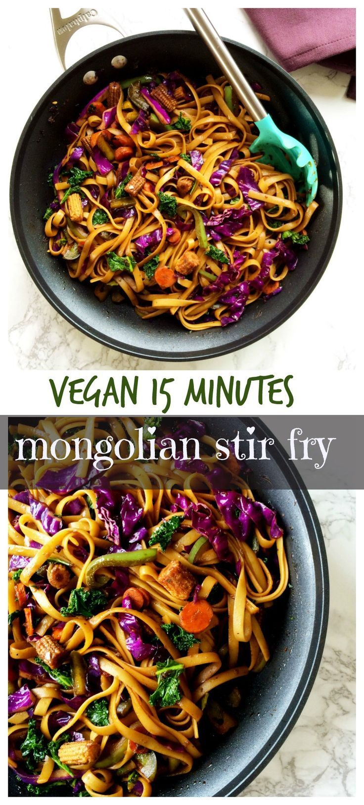 Vegan Mongolian noodles and veggies stir fry in spicy soy ginger sauce makes a perfect weeknight meal in minutes .