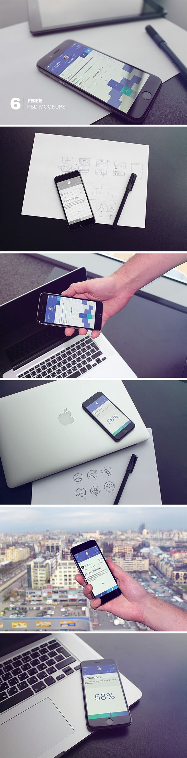 Create a neat presentation for your latest mobile app or theme with this great collection of iPhone 6 mock-ups...