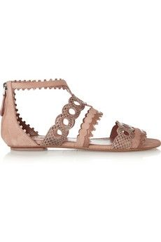 Laser-cut patent-leather, snake and suede sandals | sheerluxe.com