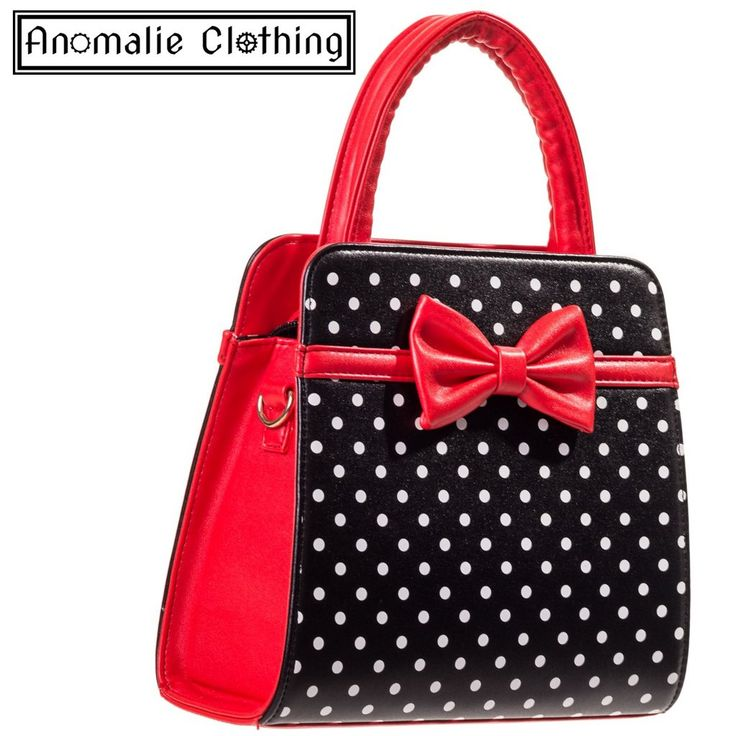 Carla Handbag with Polka Dots & Bow in Red and Black