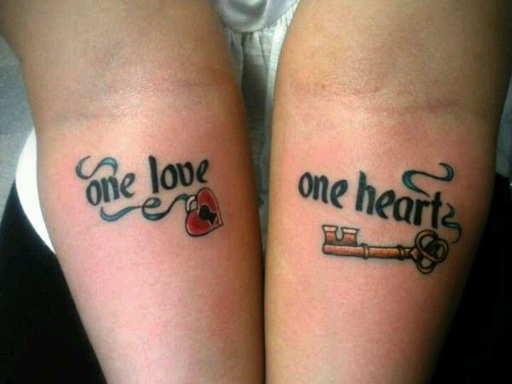 One love one heart couples tattoo tattoos pinterest for Love tattoo designs for couples