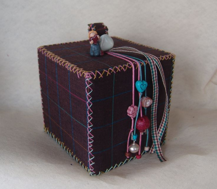 X-mas lucky charm decorative fabric box. | Created by JKa. Available at https://www.etsy.com/shop/CreationsbyTzeniKa #CreationsbyTzeniKa
