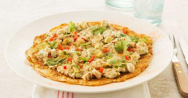 Recept voor Pannenkoeken met gerookte kip en avocado