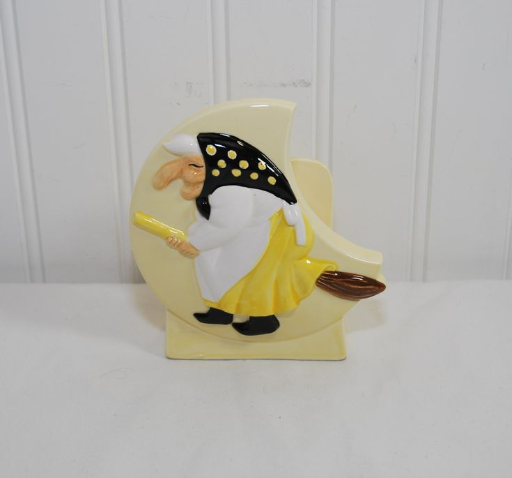Vintage Health & Happiness Kitchen Witch Ceramic Napkin Holder (c. 1950's) Japan Ceramic Napkin Holder, Scandinavian Custom, Good Luck Witch